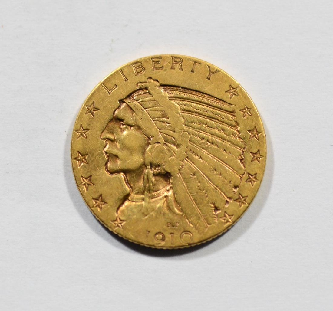 1910 $5 Indian gold coin, F