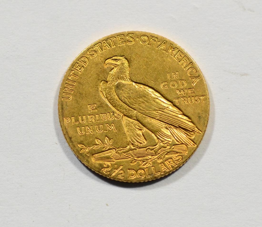 1908 $2 1/2 Indian gold coin, EF - 2