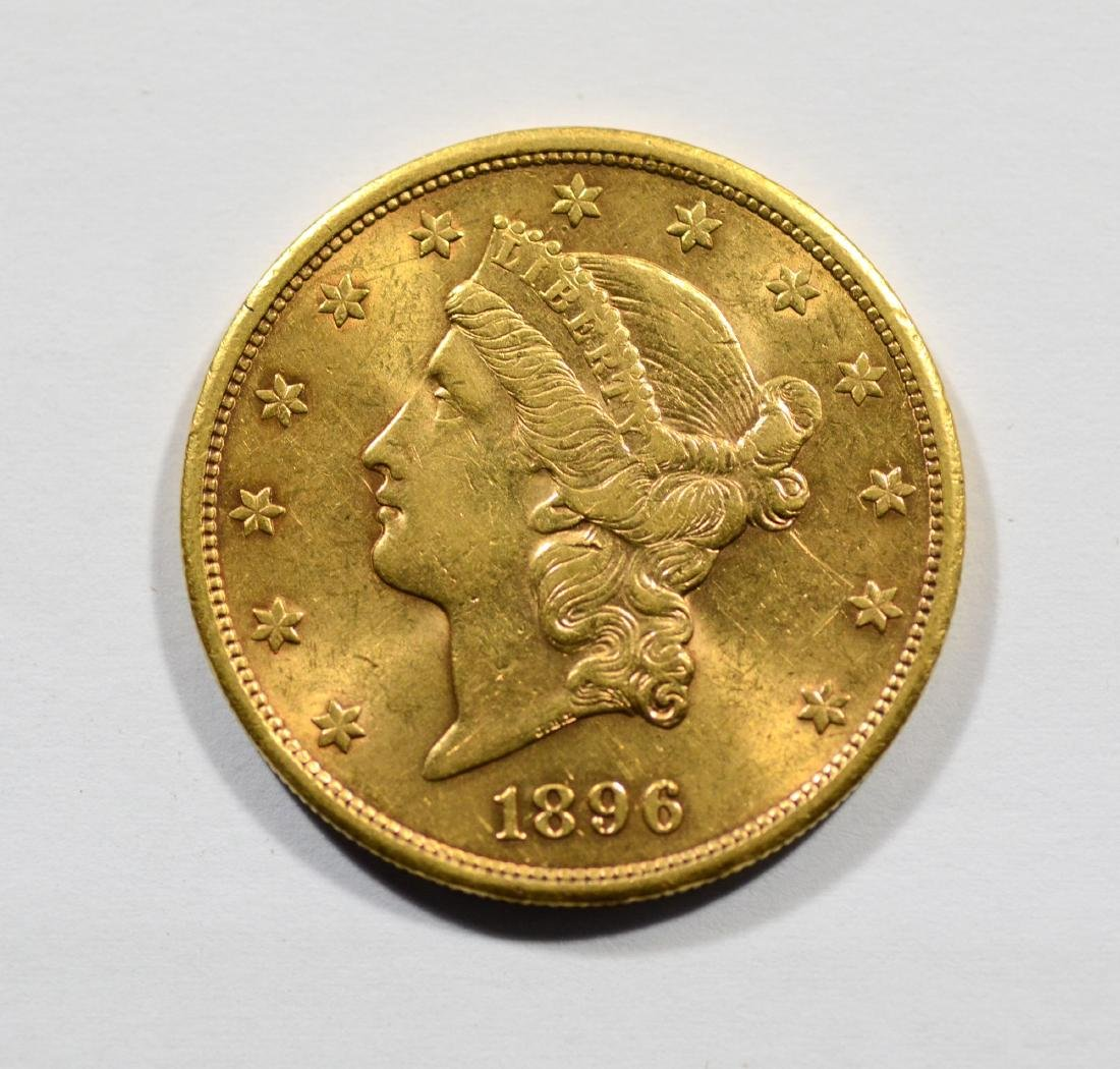 1896S $20 Liberty gold coin, EF