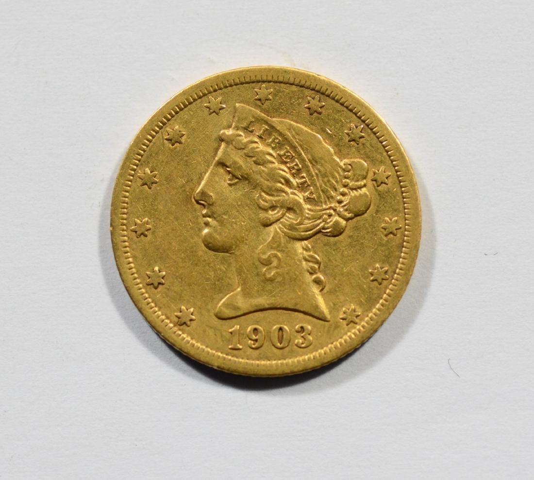 1903S $5 Liberty gold coin, VF