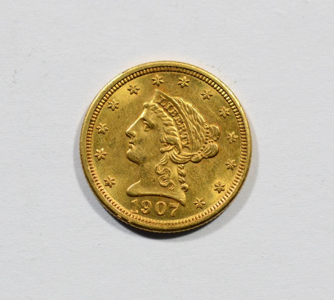 1907 $2 1/2 Liberty gold coin, EF