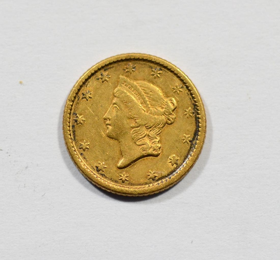 1853 $1 Liberty gold coin, VF