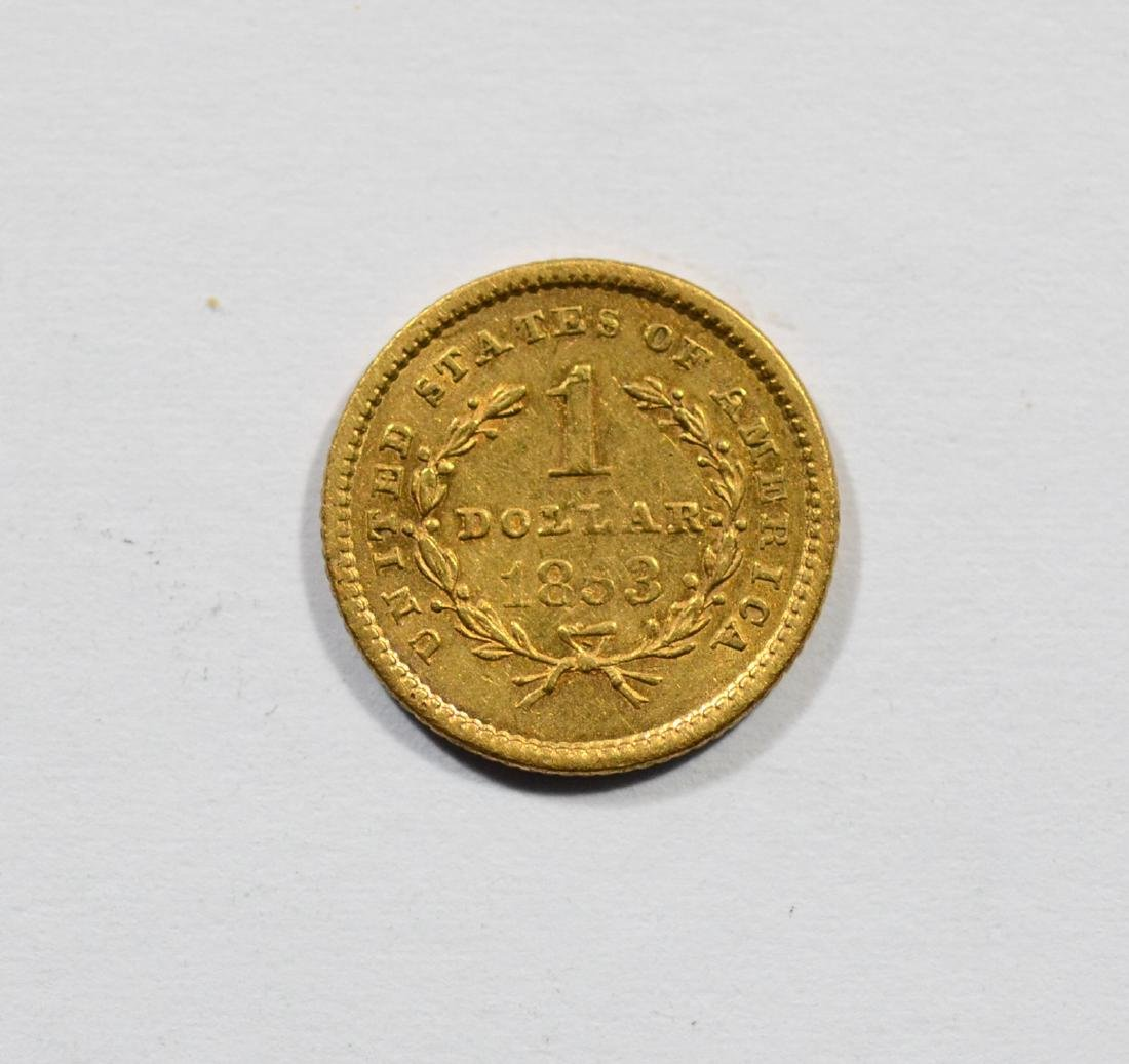 1853 $1 Liberty gold coin, VF - 2