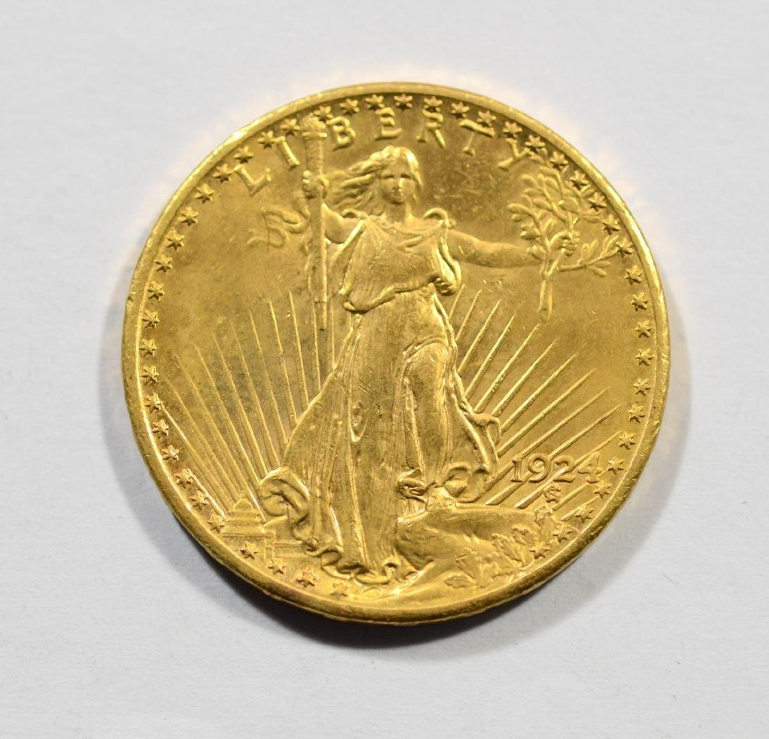 1924 $20 St Gaudens gold coin, AU