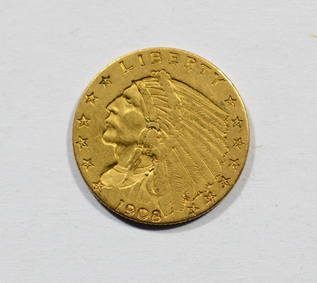 1908 $2 1/2 Indian gold coin, F