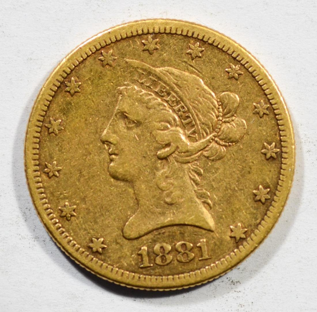 1881S $10 Liberty gold coin, EF