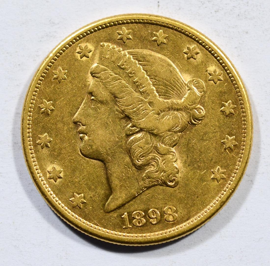 1898S $20 Liberty gold coin, EF