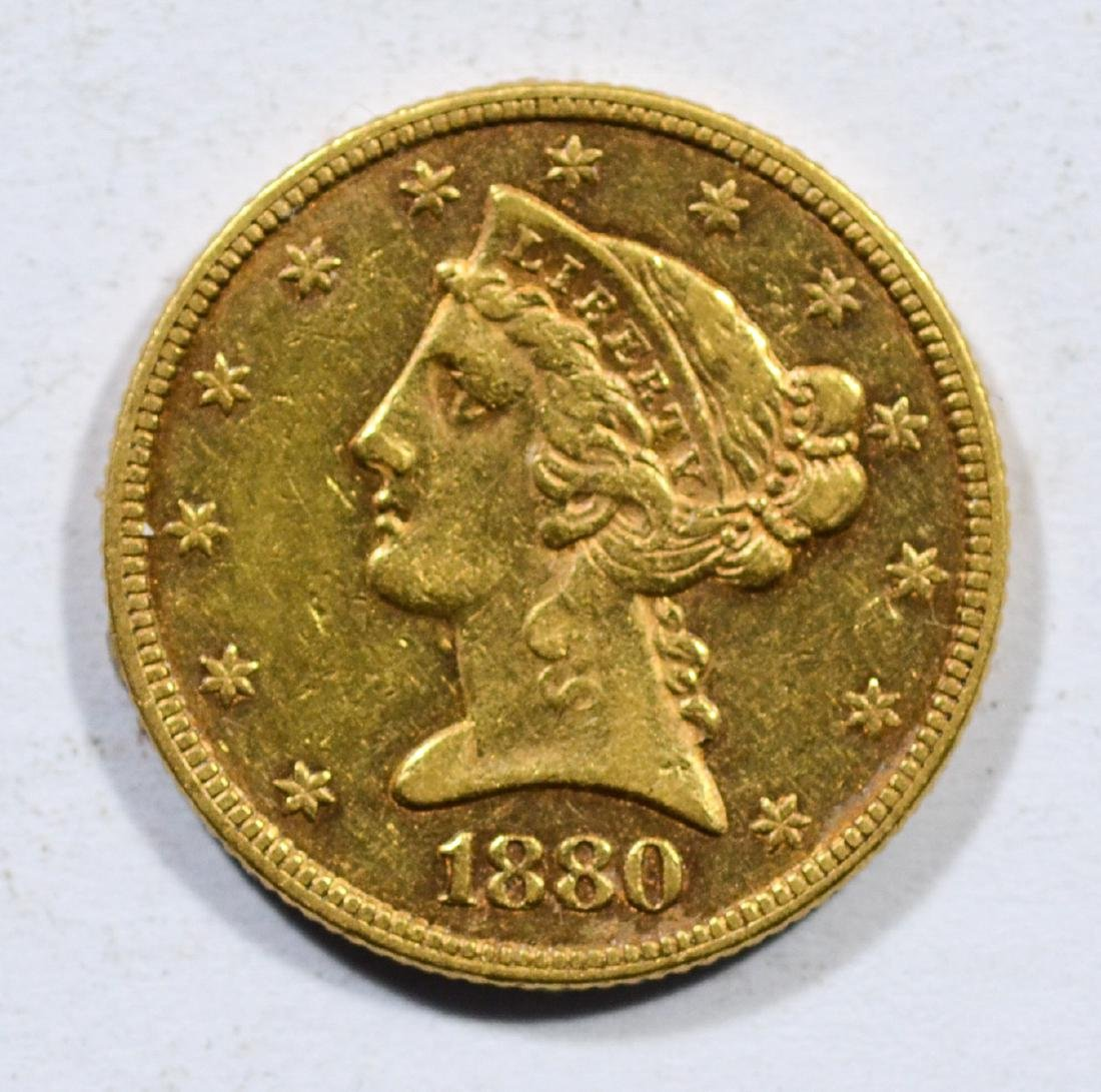 1880 $5 Liberty gold coin, EF