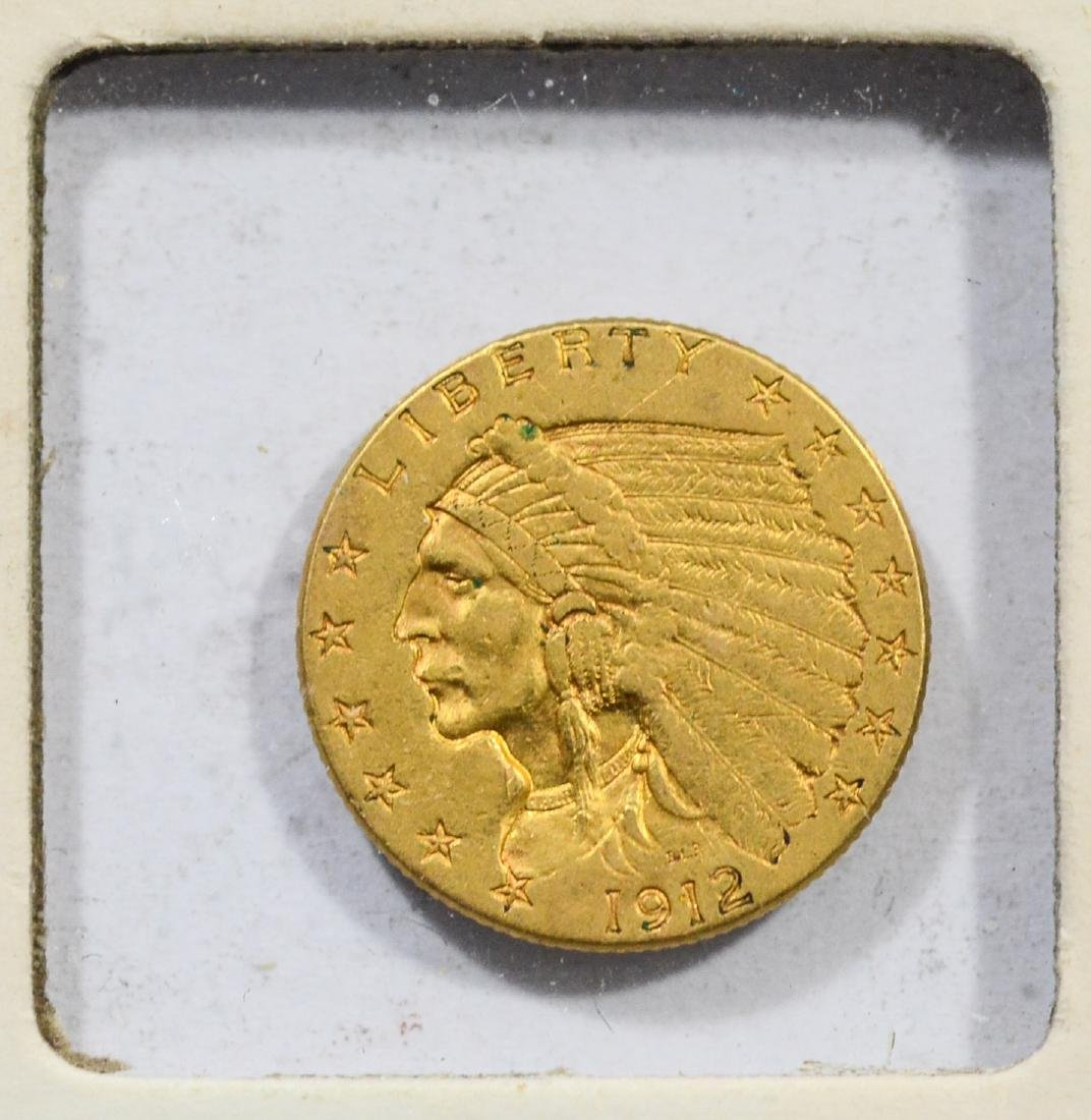 1912 $2 1/2 Indian gold coin, EF