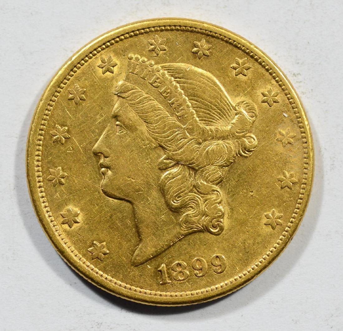 1899S $20 Liberty gold coin, VF+