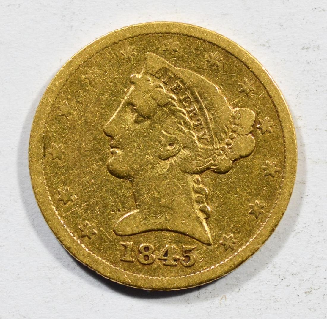 1845 $5 Liberty gold coin, F