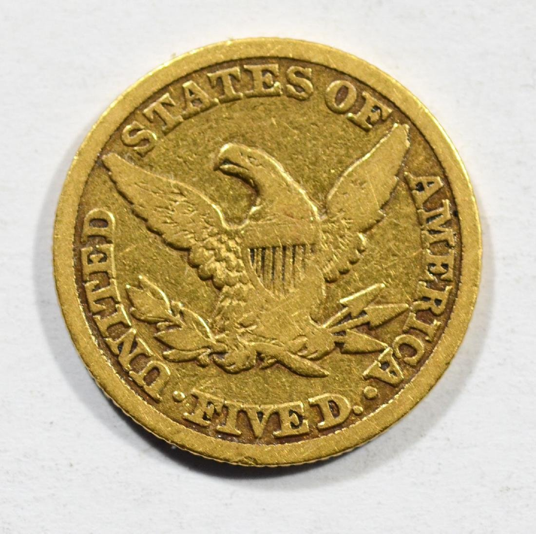 1845 $5 Liberty gold coin, F - 2