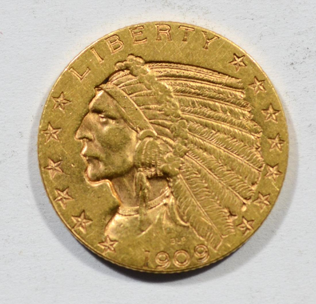 1909D $5 Indian gold coin, VF