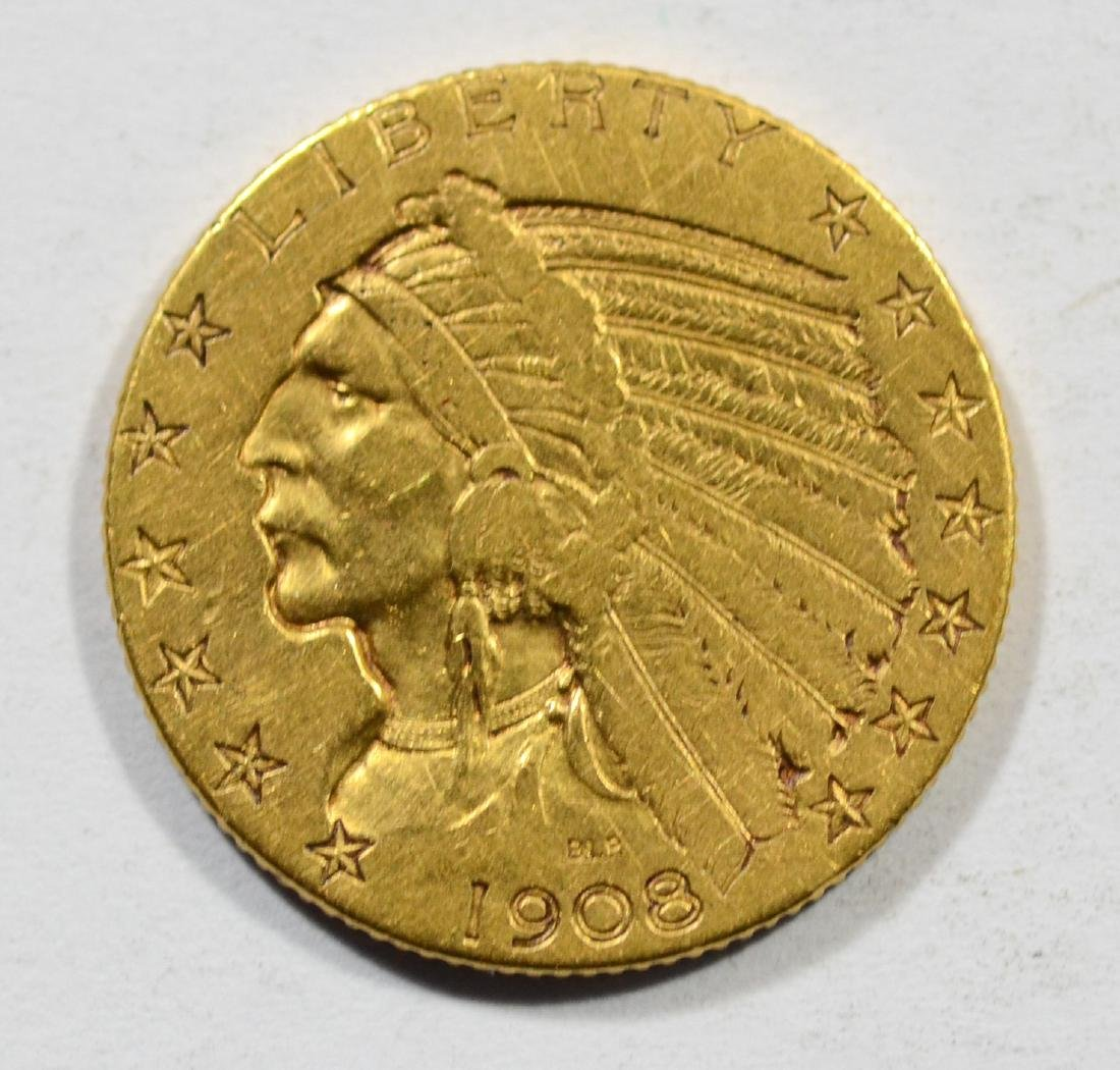 1908 $5 Indian gold coin, VF