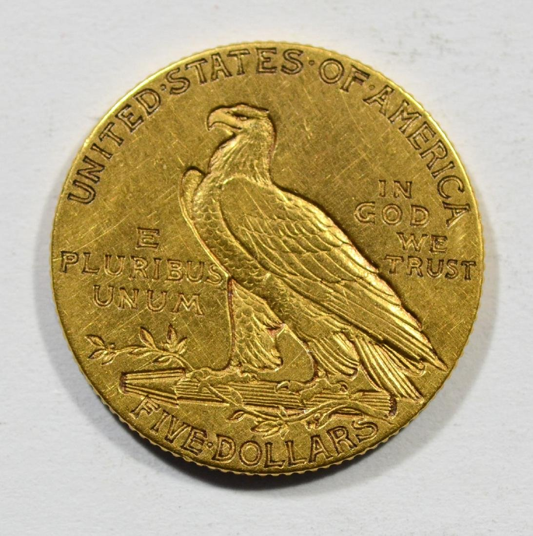 1908 $5 Indian gold coin, VF - 2