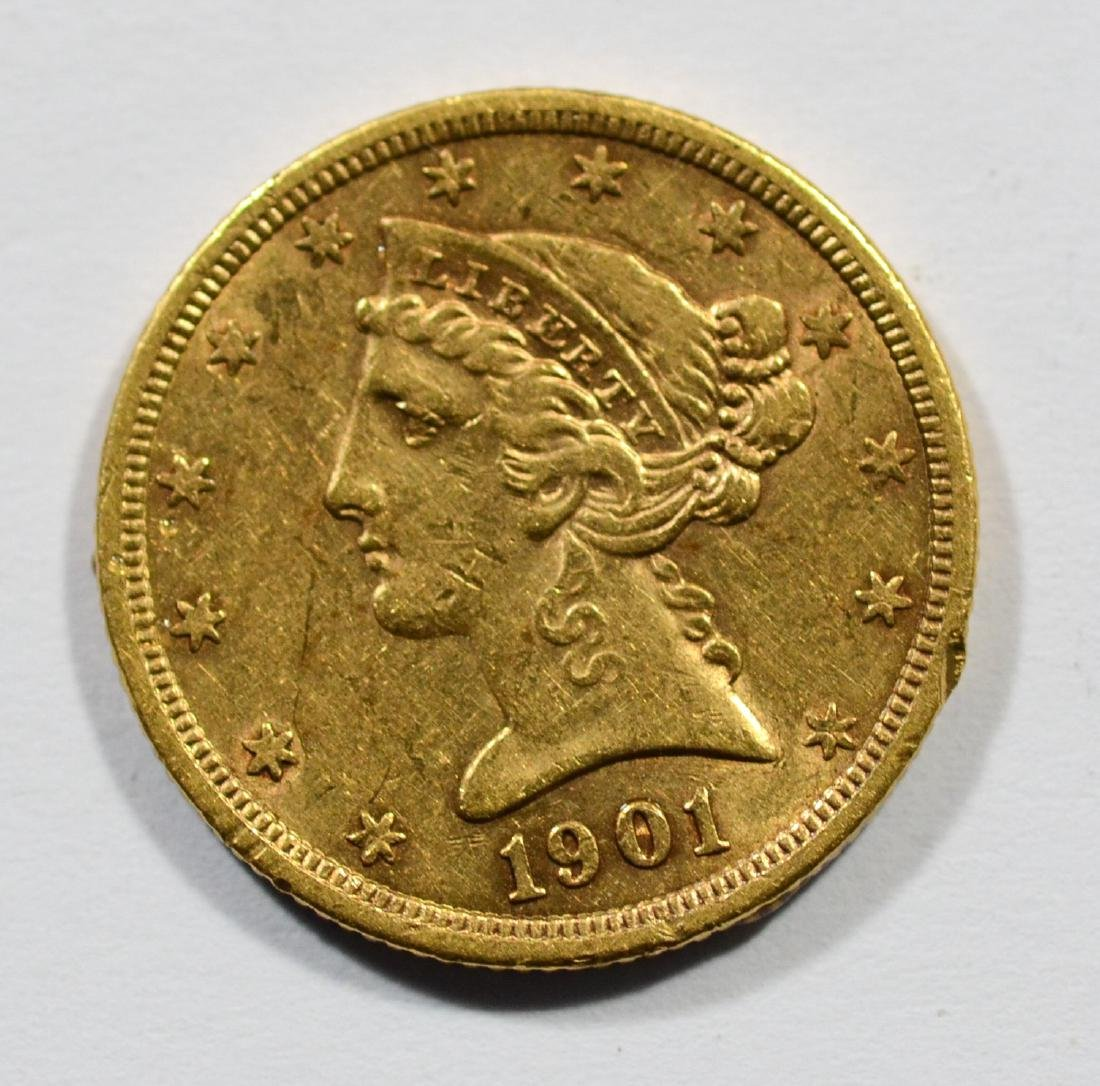 1901S $5 Liberty gold coin, EF