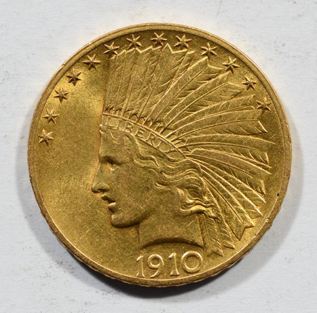 1910 $10 Indian gold coin, EF