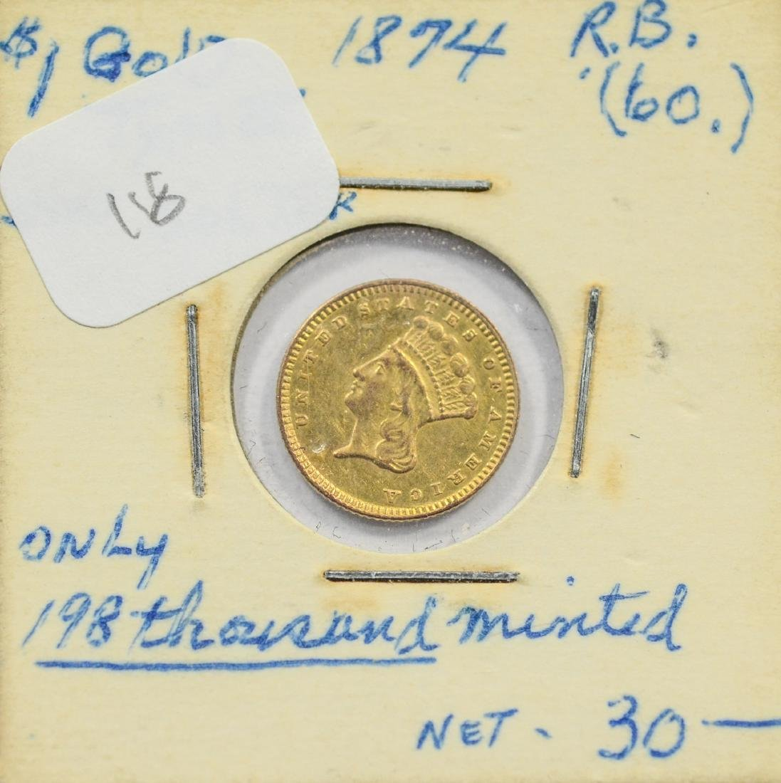 1874 $1 Liberty gold coin, jewelry grade