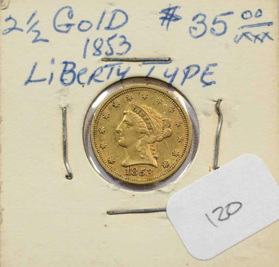 1853 $ 2 1/2 Liberty gold coin, VF