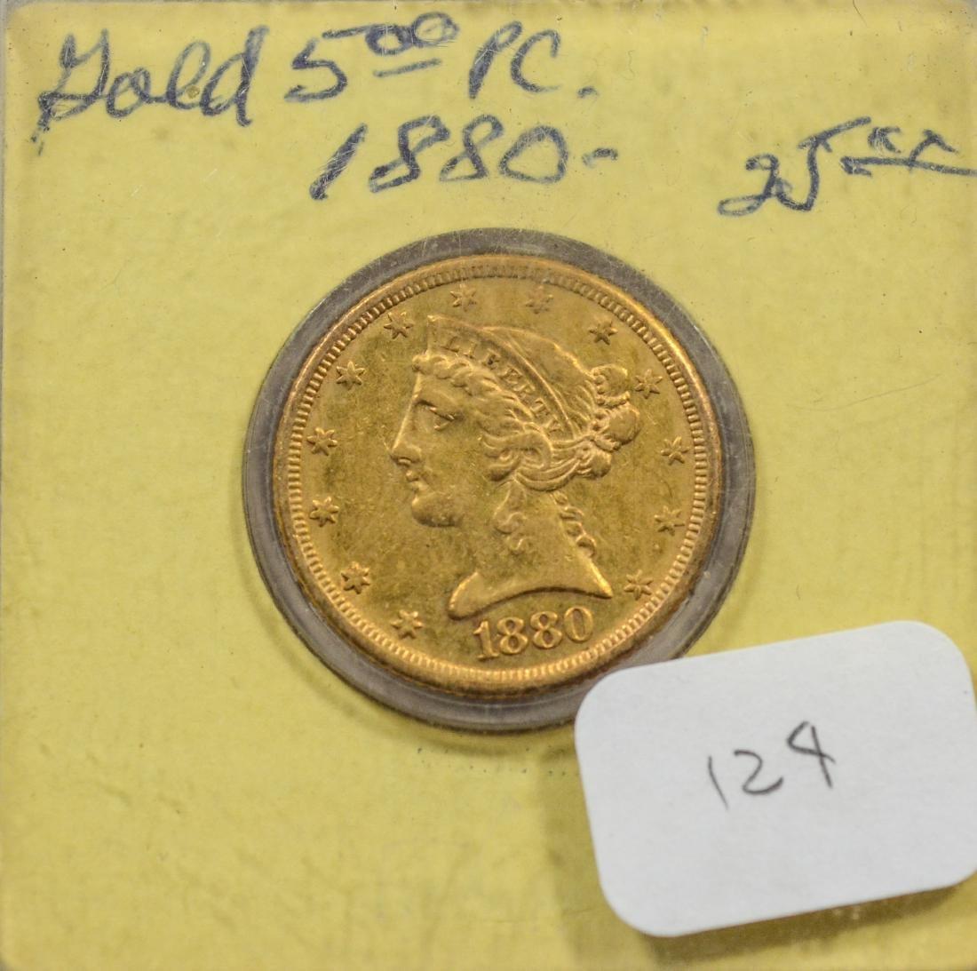 1880 $5 Liberty gold coin, VF