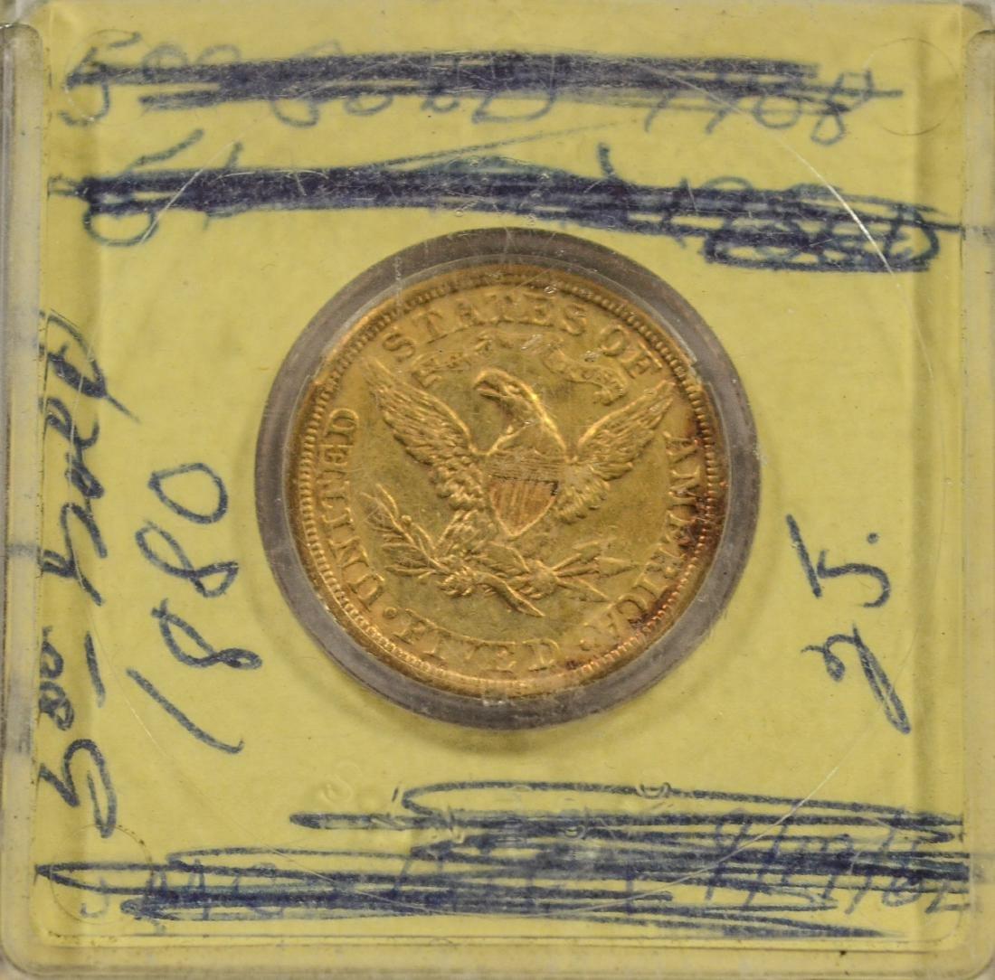 1880 $5 Liberty gold coin, VF - 2