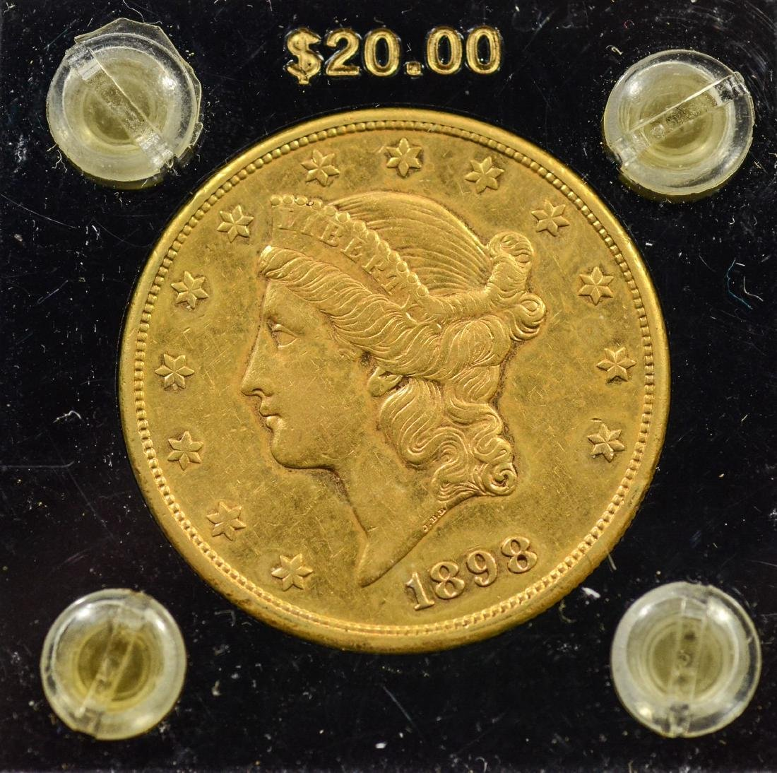 1898S $20 Liberty gold coin, EF+