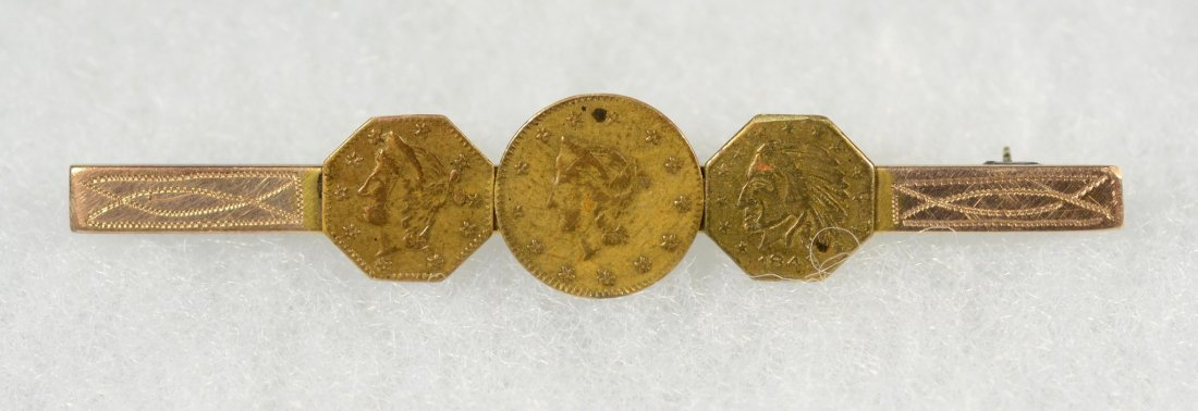 Unmarked YG tie bar with 3 California gold tokens