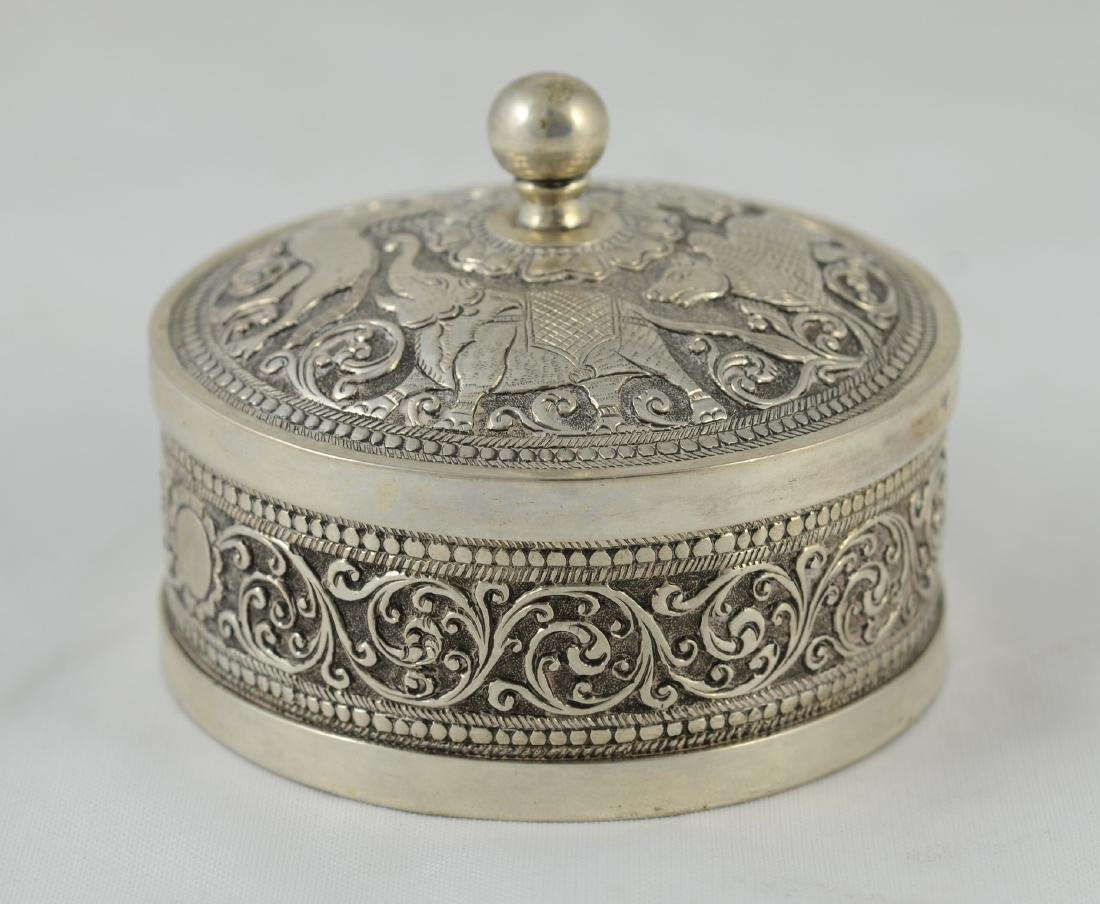 Mughal Indian Solid Silver Covered Box