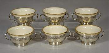6 sterling silver soup bowls with Lenox liners