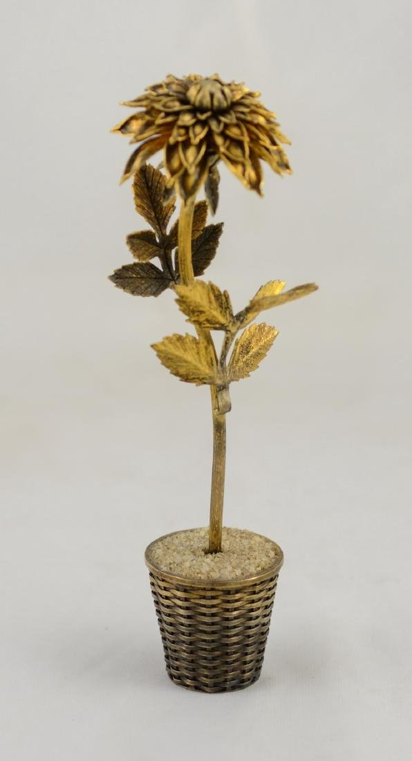 Tiffany sterling silver & gilt Mexico flower in pot