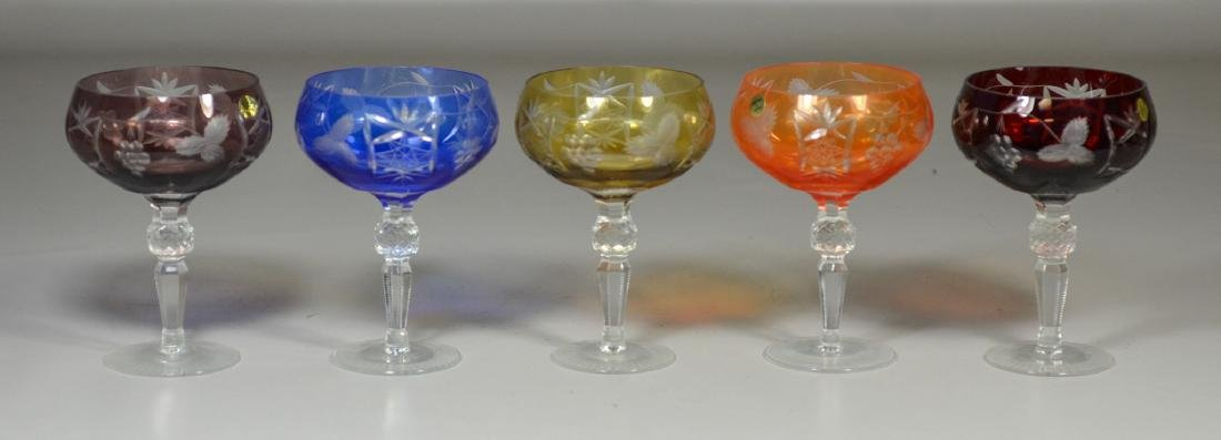 5 Multi-colored cut to clear glass champagne saucers