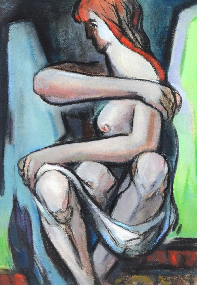 "G Ralph Smith mixed media on paper, ""Posture"""