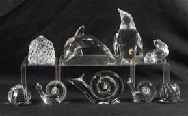 (9) crystal animals, 3 signed Steuben