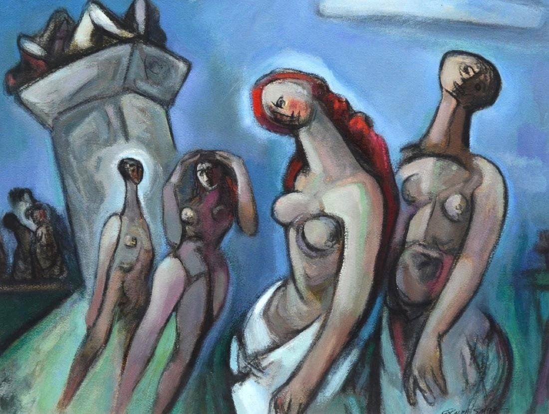 """G Ralph Smith mixed media on paper, """"The Group"""""""