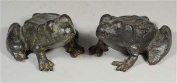 2 Large cast iron frog doorstops