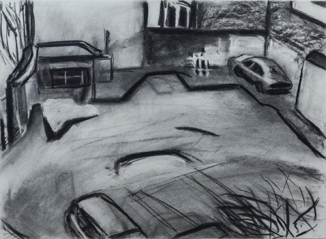 """Martha Armstrong monochrome lithograph, """"Parking Lot"""""""
