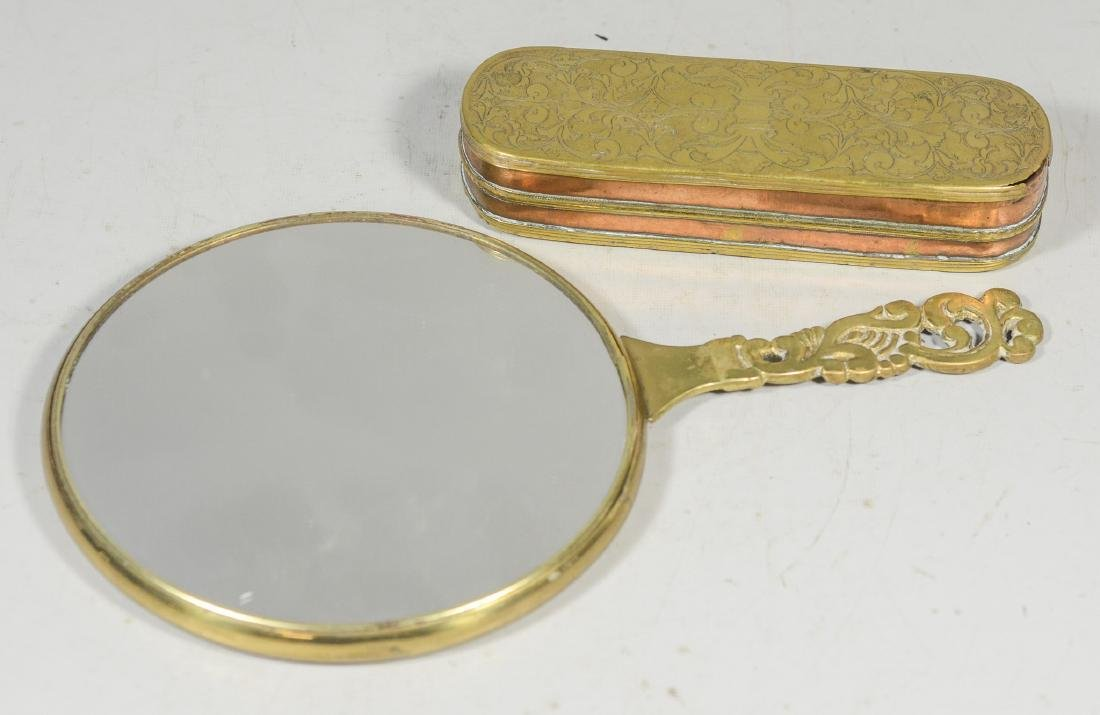 Dutch copper & brass tobacco box with a brass mirror