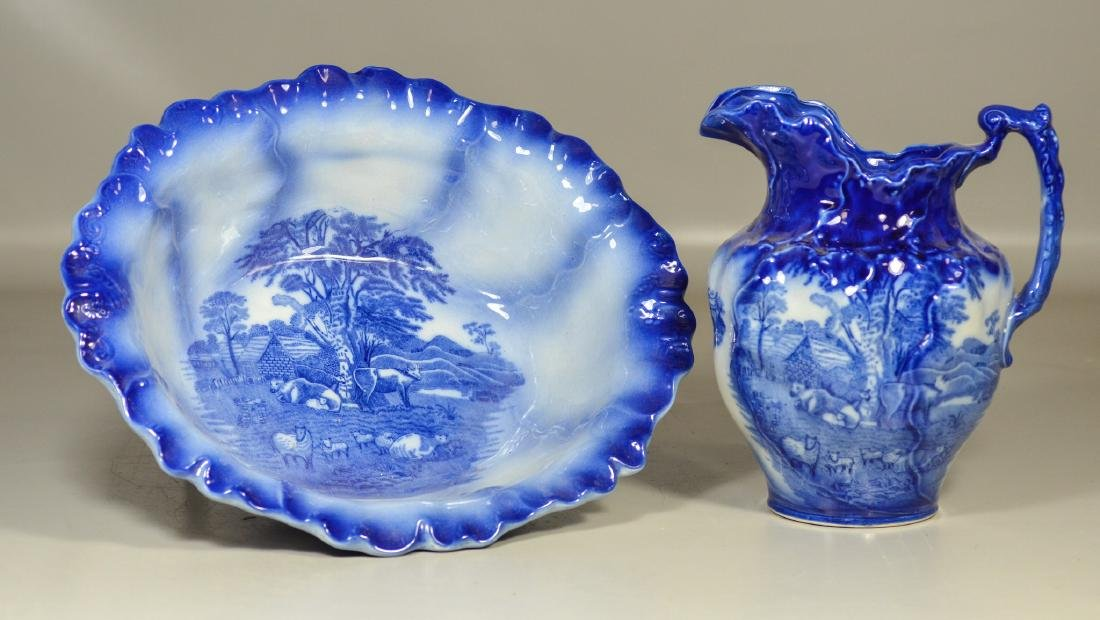 English flow blue Homestead ironstone bowl & pitcher