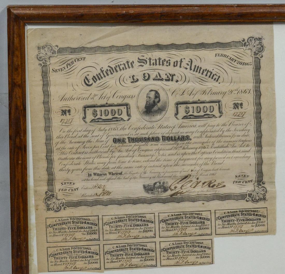 1863 Confederate States of America Loan Certificate