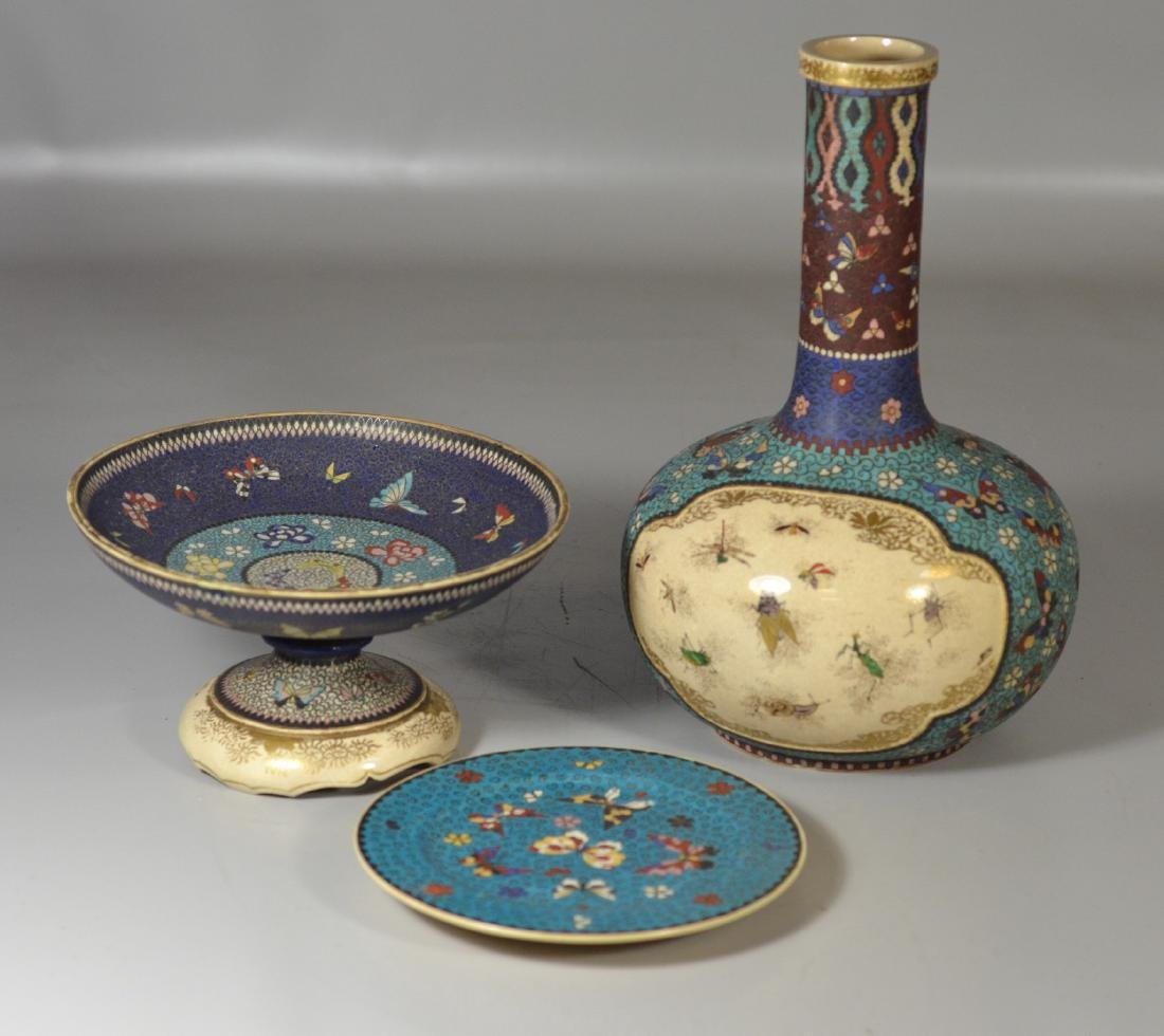 Three Pieces Japanese Totai Cloisonne on porcelain