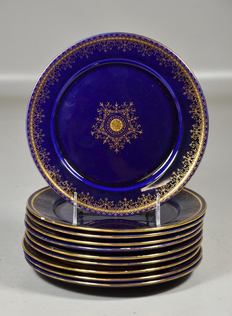 10 Sarreguemines cobalt blue and gold plates