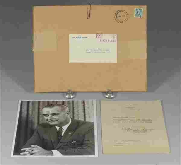 Lyndon B Johnson signed & inscribed photo, unframed