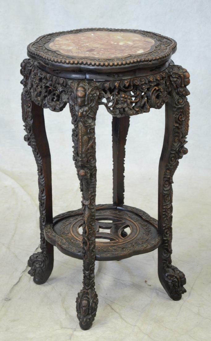 Chinese carved teak wood marble top taboret