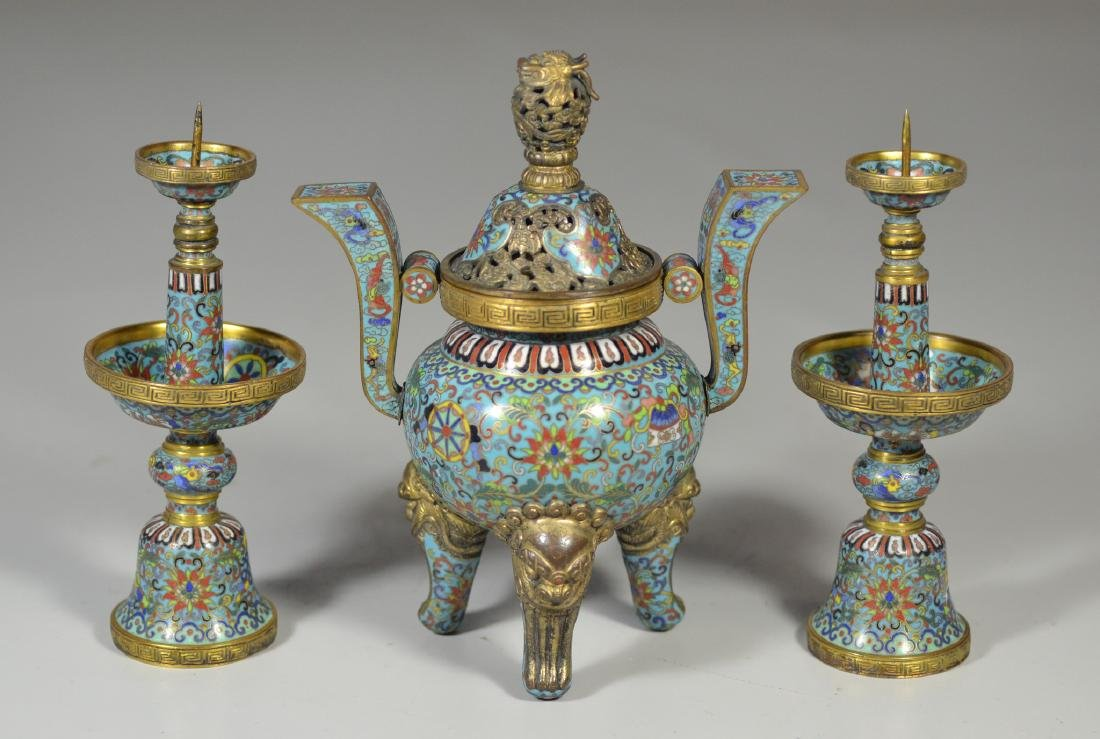 Chinese Cloisonne 3-Piece Altar Set
