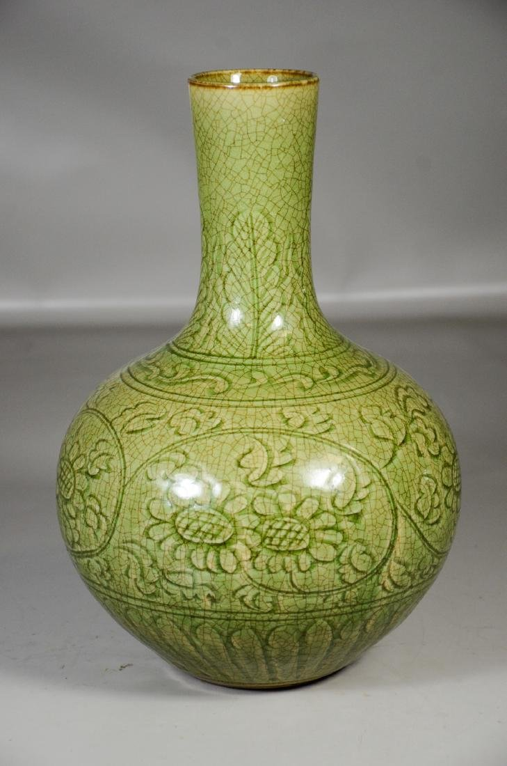 Chinese Incised Green Ground Vase