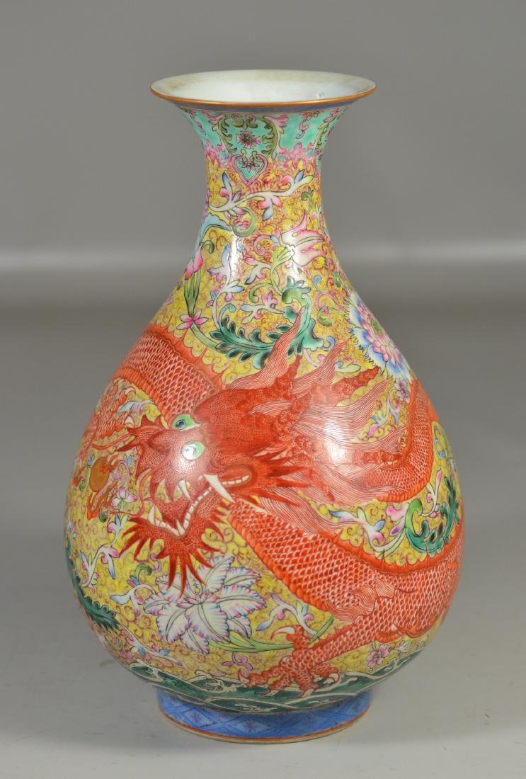 Chinese Republic Period Dragon Vase Lamp