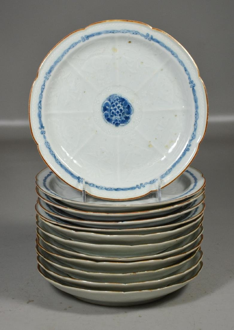 (12) Japanese Blue and White Plates
