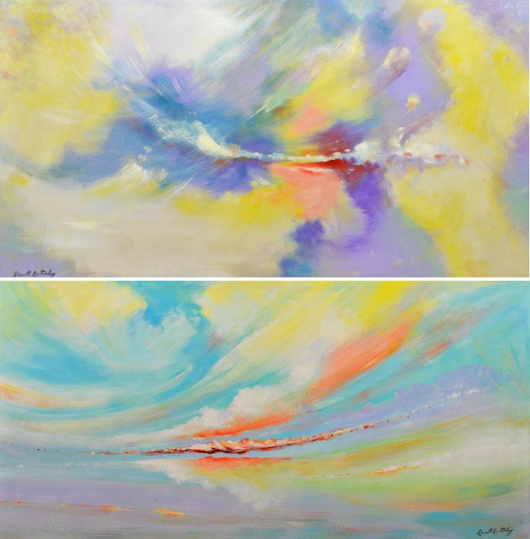Russell Lee Finley  pair of modern abstract paintings