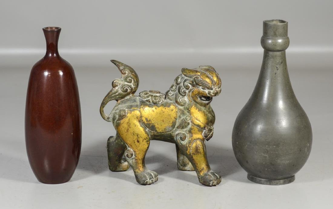 Three (3) Asian pieces to include gilt lion censer