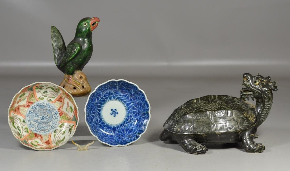 5 Asian pieces to include signed mythical turtle